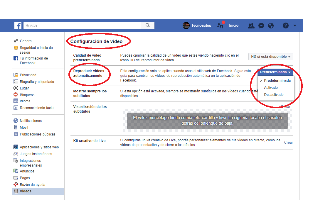 Como poner autoplay a los videos de facebook